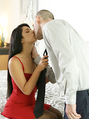 Latina babe Gina Valentina puts on a miniskirt dress and lingerie to seduce her guy into anal play and a hardcore romp