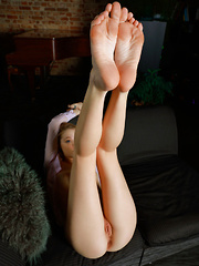 Top model Mia Chance spreads her legs wide open baring her delectable pussy.