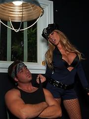 Sexy Cop Capri finds a big gun in guys pants