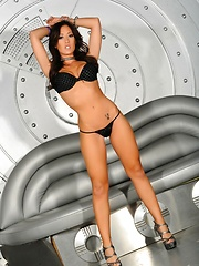 Black Bikini On Silver Futuristic Set