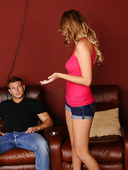 Alexis Adams wants to watch tv or get fucked by her friends brother so she fucks him while watching tv!