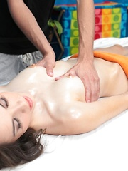 Emily seduced and fucked hard by her massage therapist