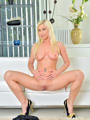 Blonde MILF shows off her perfect tits and tight twat